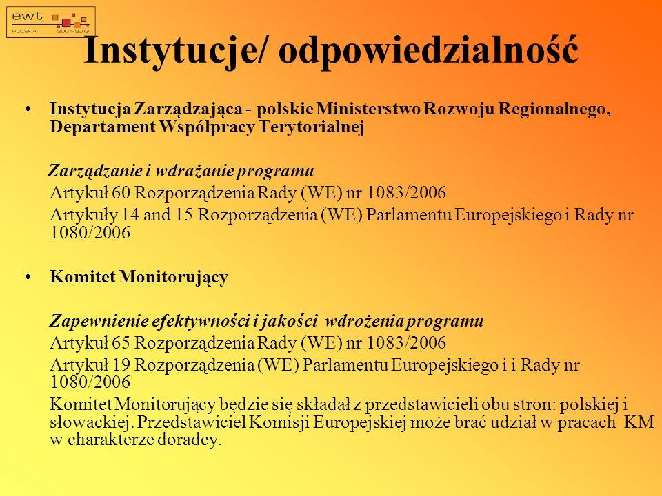 Instytucje/odpowiedzialność Instytucja Krajowa -słowackie Ministerstwo Budownictwa i Rozwoju Regionalnego Koordynacja, wdrażanie i monitorowanie programu oraz projektów po stronie słowackiej (podpisywanie umów ze słowackimi beneficjentami w zakresie współfinansowania krajowego -10 lub 15%)