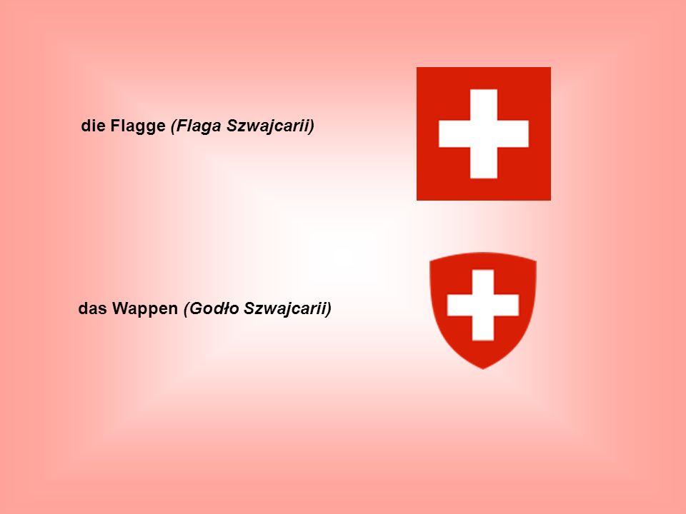 die Flagge (Flaga Szwajcarii) das Wappen (Godło Szwajcarii)