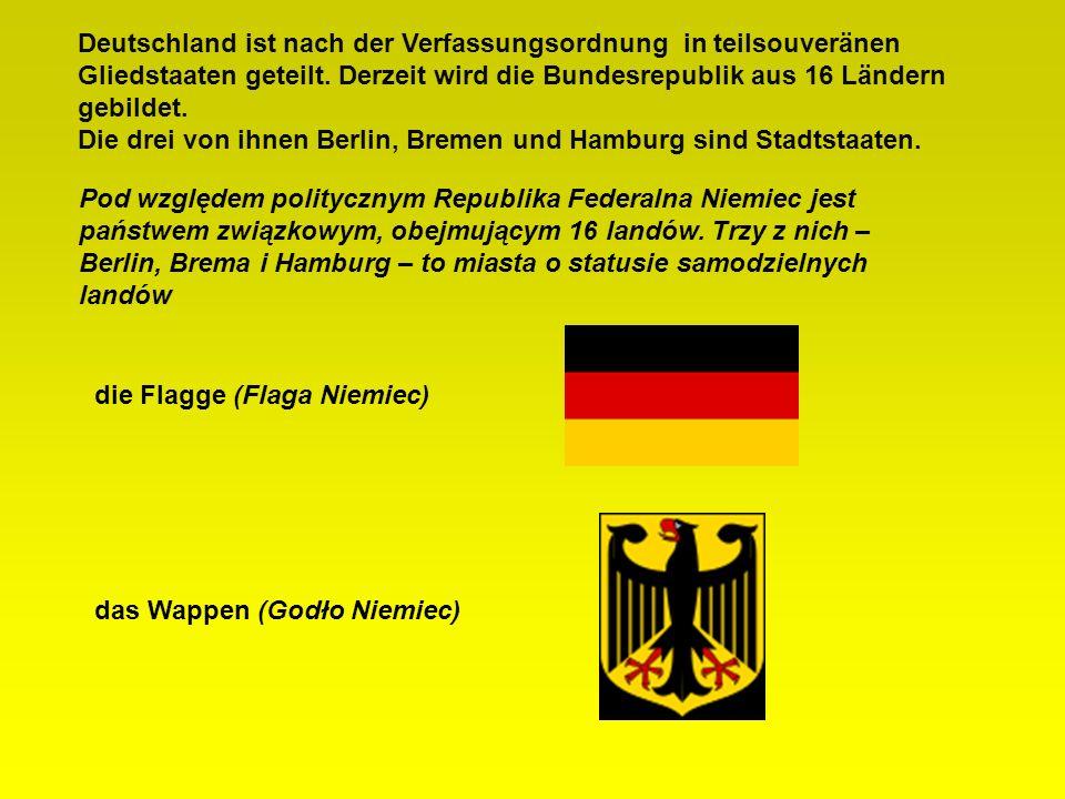 Deutschland ist nach der Verfassungsordnung in teilsouveränen Gliedstaaten geteilt. Derzeit wird die Bundesrepublik aus 16 Ländern gebildet. Die drei