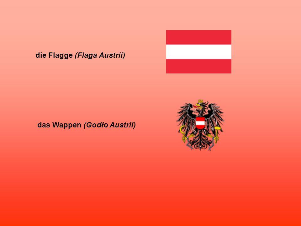 die Flagge (Flaga Austrii) das Wappen (Godło Austrii)