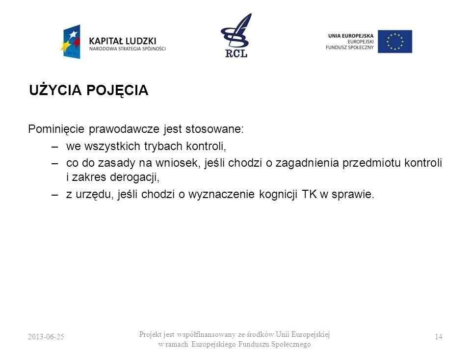 2013-06-2514 Projekt jest współfinansowany ze środków Unii Europejskiej w ramach Europejskiego Funduszu Społecznego UŻYCIA POJĘCIA Pominięcie prawodaw
