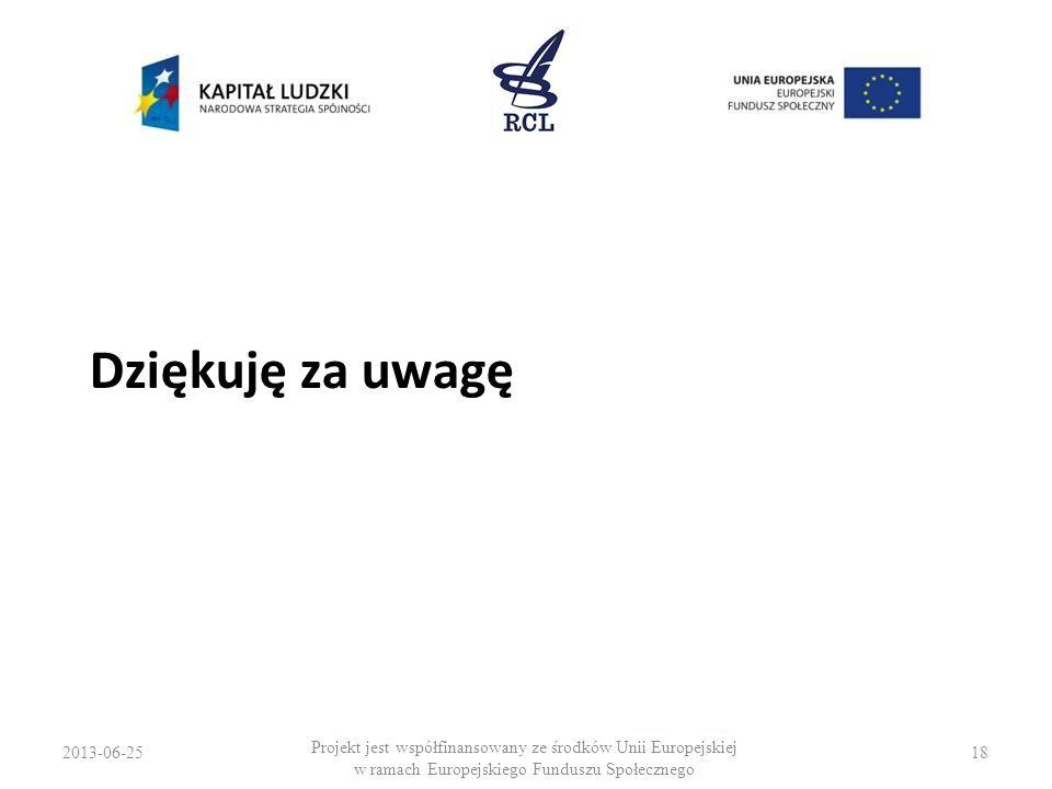 2013-06-2518 Projekt jest współfinansowany ze środków Unii Europejskiej w ramach Europejskiego Funduszu Społecznego Dziękuję za uwagę