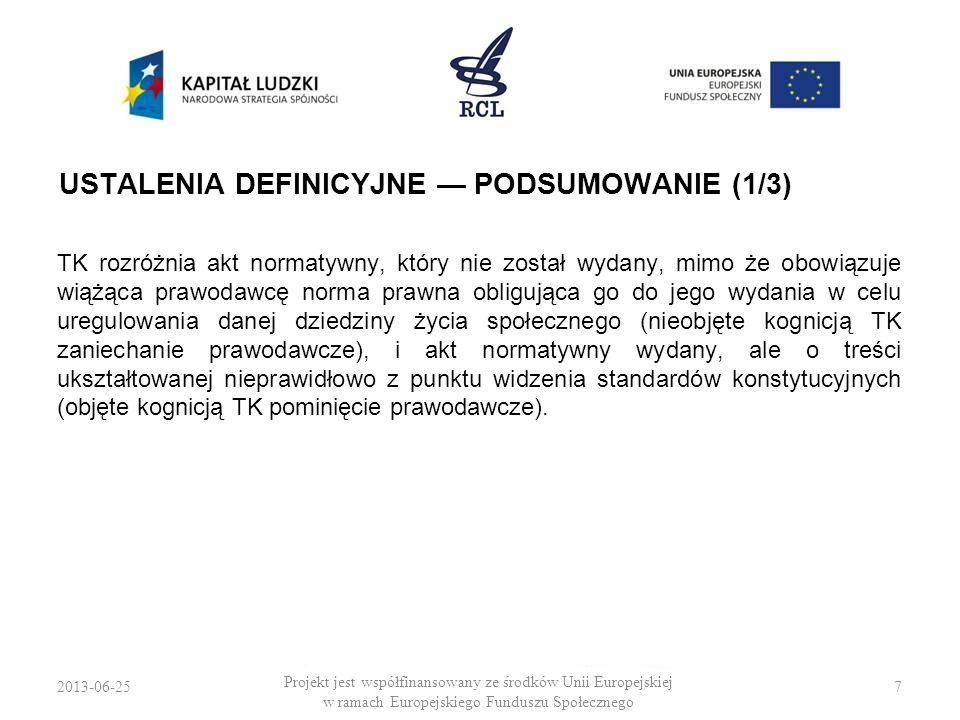 2013-06-257 Projekt jest współfinansowany ze środków Unii Europejskiej w ramach Europejskiego Funduszu Społecznego USTALENIA DEFINICYJNE PODSUMOWANIE