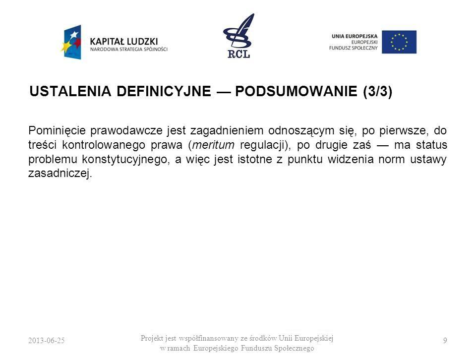 2013-06-259 Projekt jest współfinansowany ze środków Unii Europejskiej w ramach Europejskiego Funduszu Społecznego USTALENIA DEFINICYJNE PODSUMOWANIE