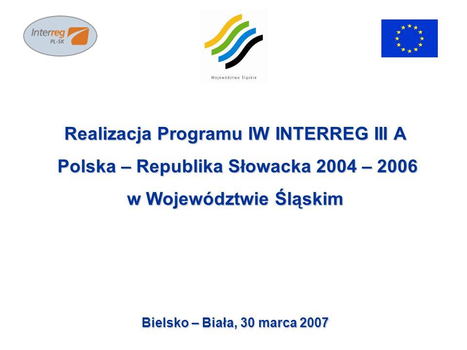 Realizacja Programu IW INTERREG III A Polska – Republika Słowacka 2004 – 2006 Polska – Republika Słowacka 2004 – 2006 w Województwie Śląskim Bielsko – Biała, 30 marca 2007