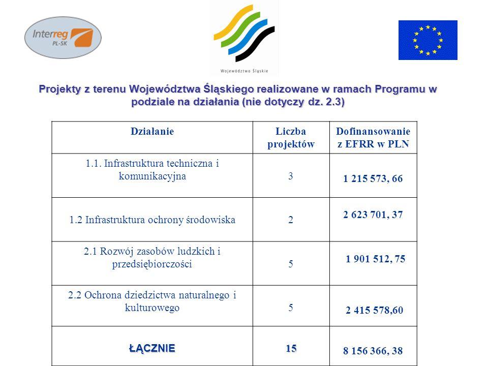 DziałanieLiczba projektów Dofinansowanie z EFRR w PLN 1.1. Infrastruktura techniczna i komunikacyjna3 1 215 573, 66 1.2 Infrastruktura ochrony środowi