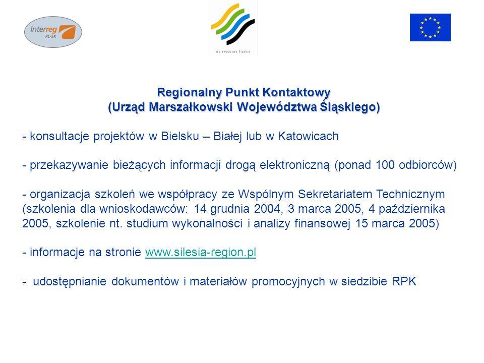 Regionalny Punkt Kontaktowy (Urząd Marszałkowski Województwa Śląskiego) - konsultacje projektów w Bielsku – Białej lub w Katowicach - przekazywanie bi
