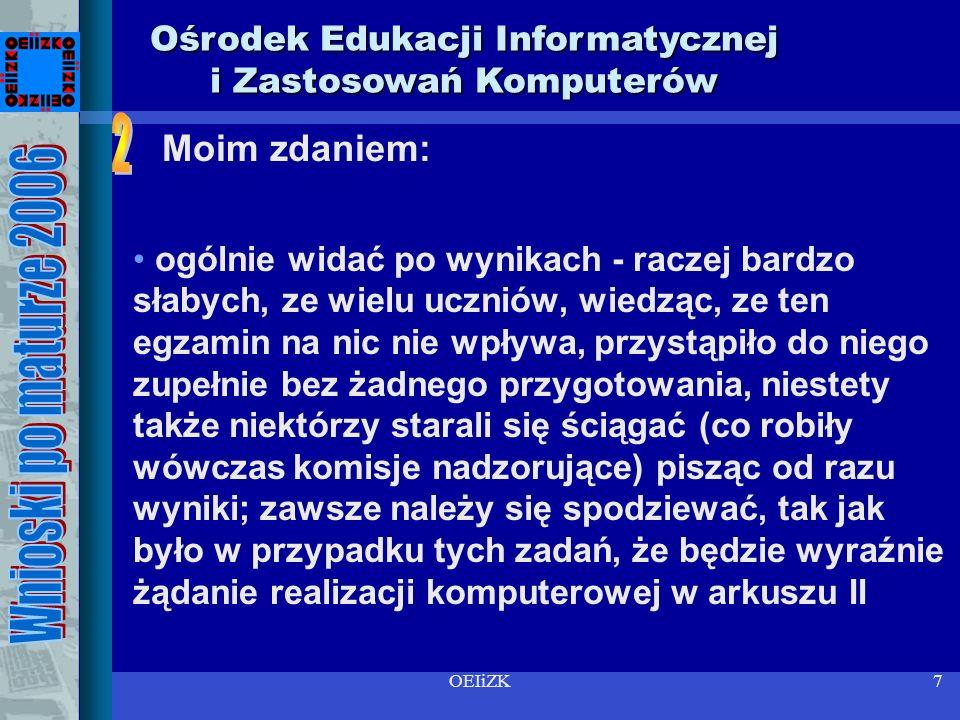 OEIiZK7 Ośrodek Edukacji Informatycznej i Zastosowań Komputerów ogólnie widać po wynikach - raczej bardzo słabych, ze wielu uczniów, wiedząc, ze ten egzamin na nic nie wpływa, przystąpiło do niego zupełnie bez żadnego przygotowania, niestety także niektórzy starali się ściągać (co robiły wówczas komisje nadzorujące) pisząc od razu wyniki; zawsze należy się spodziewać, tak jak było w przypadku tych zadań, że będzie wyraźnie żądanie realizacji komputerowej w arkuszu II Moim zdaniem: