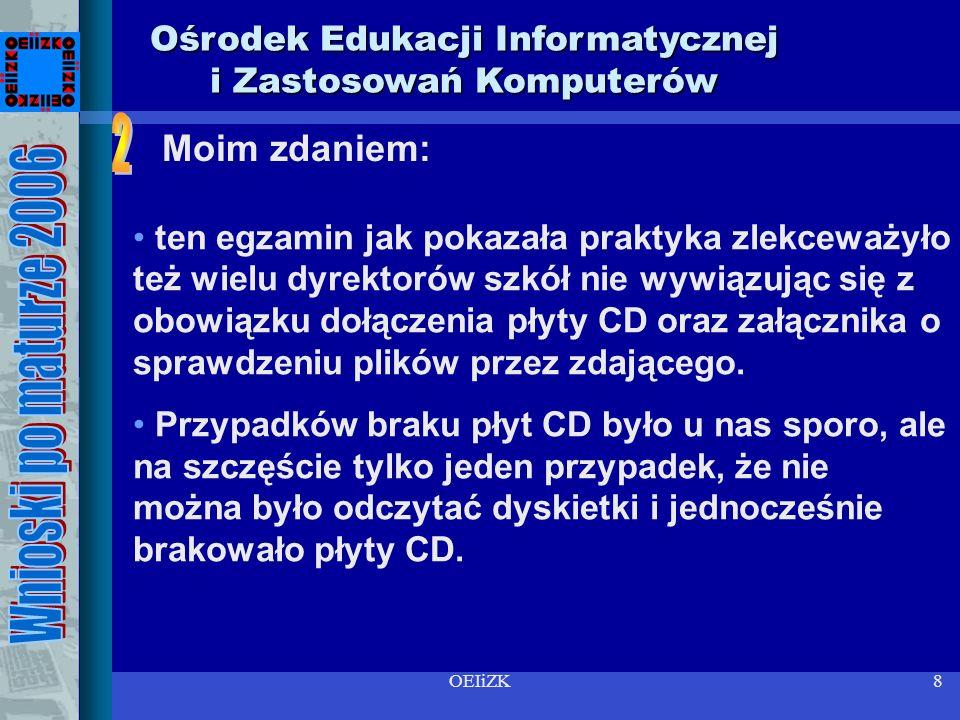 OEIiZK8 Ośrodek Edukacji Informatycznej i Zastosowań Komputerów ten egzamin jak pokazała praktyka zlekceważyło też wielu dyrektorów szkół nie wywiązując się z obowiązku dołączenia płyty CD oraz załącznika o sprawdzeniu plików przez zdającego.