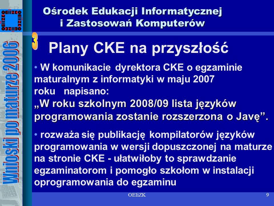 OEIiZK9 Ośrodek Edukacji Informatycznej i Zastosowań Komputerów W roku szkolnym 2008/09 lista języków programowania zostanie rozszerzona o Javę.