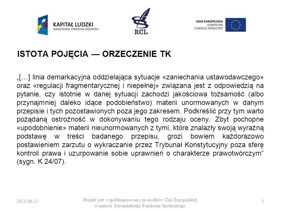 2013-06-256 Projekt jest współfinansowany ze środków Unii Europejskiej w ramach Europejskiego Funduszu Społecznego POJĘCIE USTALENIA WPADKOWE TK traktował zaniechanie prawodawcze także jako: 1.świadome działanie prawodawcy pozostawiające określoną materię poza regulacją, 2.sferę prawodawstwa objętą zasadą swobodą decyzyjną ustawodawcy, 3.wnioski i postulaty de lege ferenda, zgłaszane w pismach procesowych do TK.
