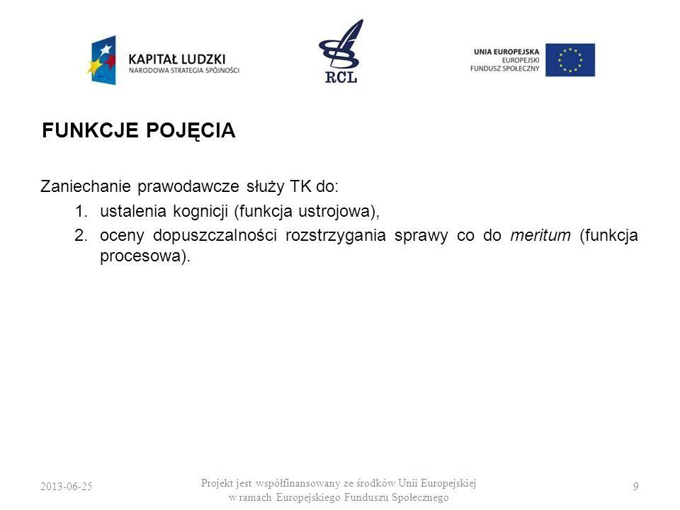 2013-06-259 Projekt jest współfinansowany ze środków Unii Europejskiej w ramach Europejskiego Funduszu Społecznego FUNKCJE POJĘCIA Zaniechanie prawoda