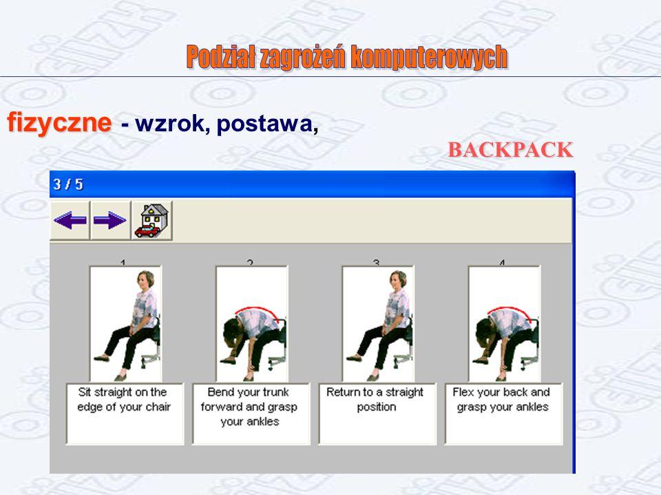 fizyczne fizyczne - wzrok, postawa, BACKPACK