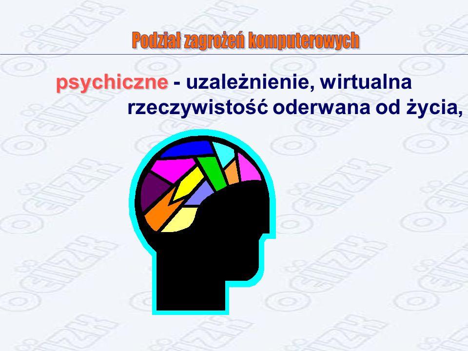 psychiczne psychiczne - uzależnienie, wirtualna rzeczywistość oderwana od życia,