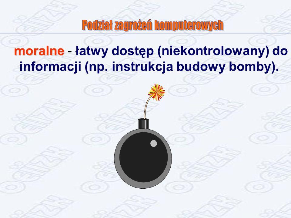 moralne moralne - łatwy dostęp (niekontrolowany) do informacji (np. instrukcja budowy bomby).