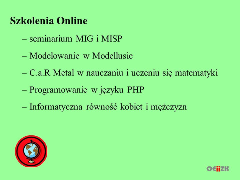 Szkolenia Online –seminarium MIG i MISP –Modelowanie w Modellusie –C.a.R Metal w nauczaniu i uczeniu się matematyki –Programowanie w języku PHP –Informatyczna równość kobiet i mężczyzn