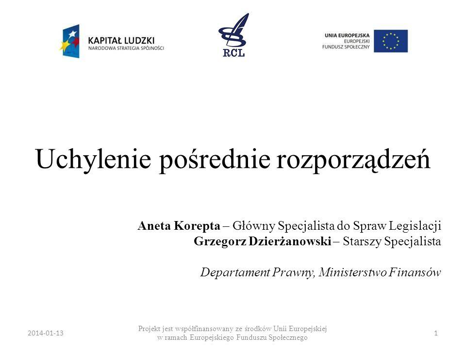 2014-01-131 Uchylenie pośrednie rozporządzeń Projekt jest współfinansowany ze środków Unii Europejskiej w ramach Europejskiego Funduszu Społecznego An
