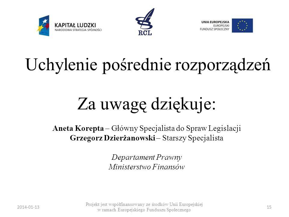 2014-01-1315 Uchylenie pośrednie rozporządzeń Projekt jest współfinansowany ze środków Unii Europejskiej w ramach Europejskiego Funduszu Społecznego Z