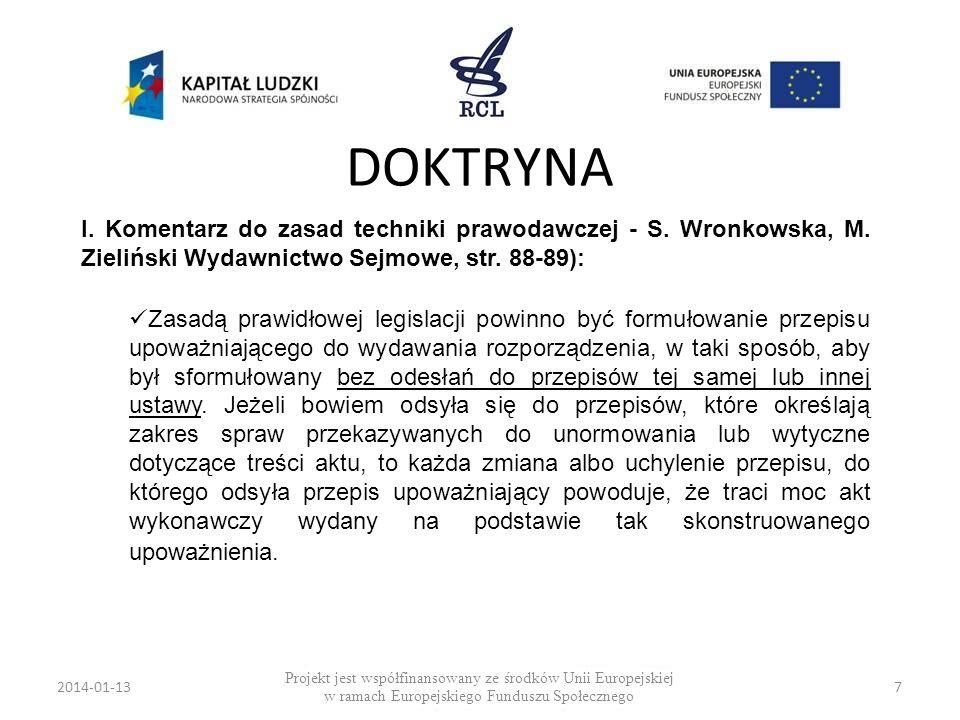 2014-01-137 DOKTRYNA Projekt jest współfinansowany ze środków Unii Europejskiej w ramach Europejskiego Funduszu Społecznego I. Komentarz do zasad tech