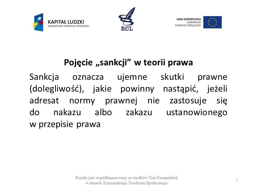 2 Projekt jest współfinansowany ze środków Unii Europejskiej w ramach Europejskiego Funduszu Społecznego Pojęcie sankcji w teorii prawa Sankcja oznacza ujemne skutki prawne (dolegliwość), jakie powinny nastąpić, jeżeli adresat normy prawnej nie zastosuje się do nakazu albo zakazu ustanowionego w przepisie prawa Projekt jest współfinansowany ze środków Unii Europejskiej w ramach Europejskiego Funduszu Społecznego