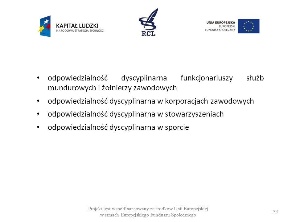 33 Projekt jest współfinansowany ze środków Unii Europejskiej w ramach Europejskiego Funduszu Społecznego odpowiedzialność dyscyplinarna funkcjonariuszy służb mundurowych i żołnierzy zawodowych odpowiedzialność dyscyplinarna w korporacjach zawodowych odpowiedzialność dyscyplinarna w stowarzyszeniach odpowiedzialność dyscyplinarna w sporcie