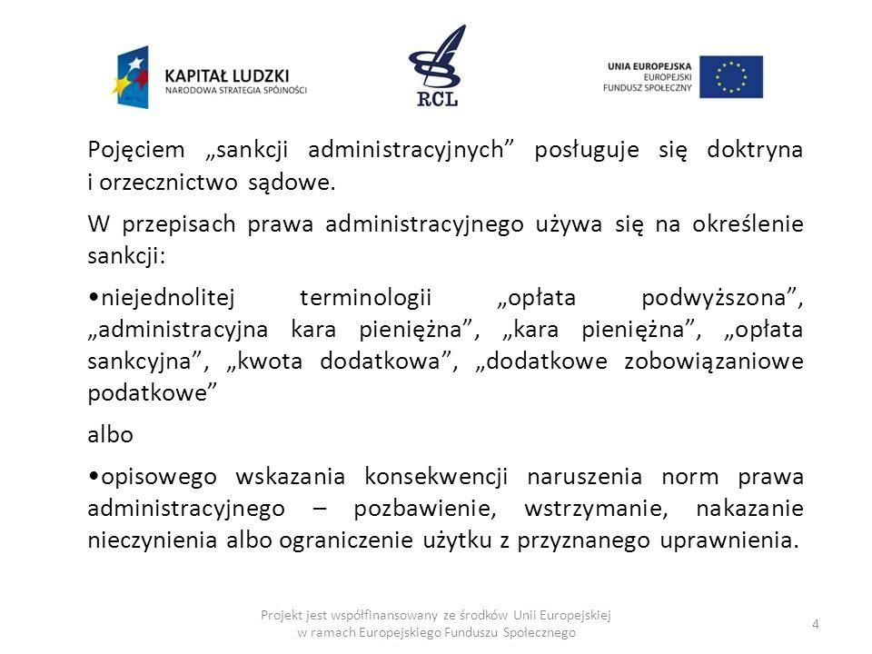 4 Projekt jest współfinansowany ze środków Unii Europejskiej w ramach Europejskiego Funduszu Społecznego Pojęciem sankcji administracyjnych posługuje się doktryna i orzecznictwo sądowe.