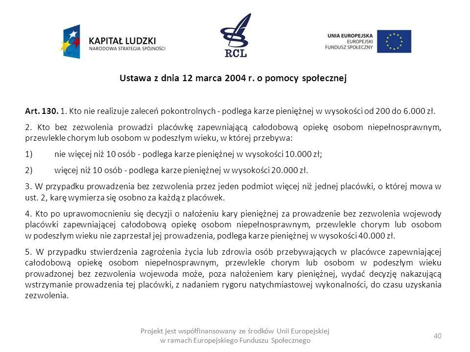 40 Projekt jest współfinansowany ze środków Unii Europejskiej w ramach Europejskiego Funduszu Społecznego Ustawa z dnia 12 marca 2004 r.
