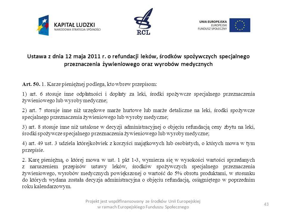 43 Projekt jest współfinansowany ze środków Unii Europejskiej w ramach Europejskiego Funduszu Społecznego Ustawa z dnia 12 maja 2011 r.