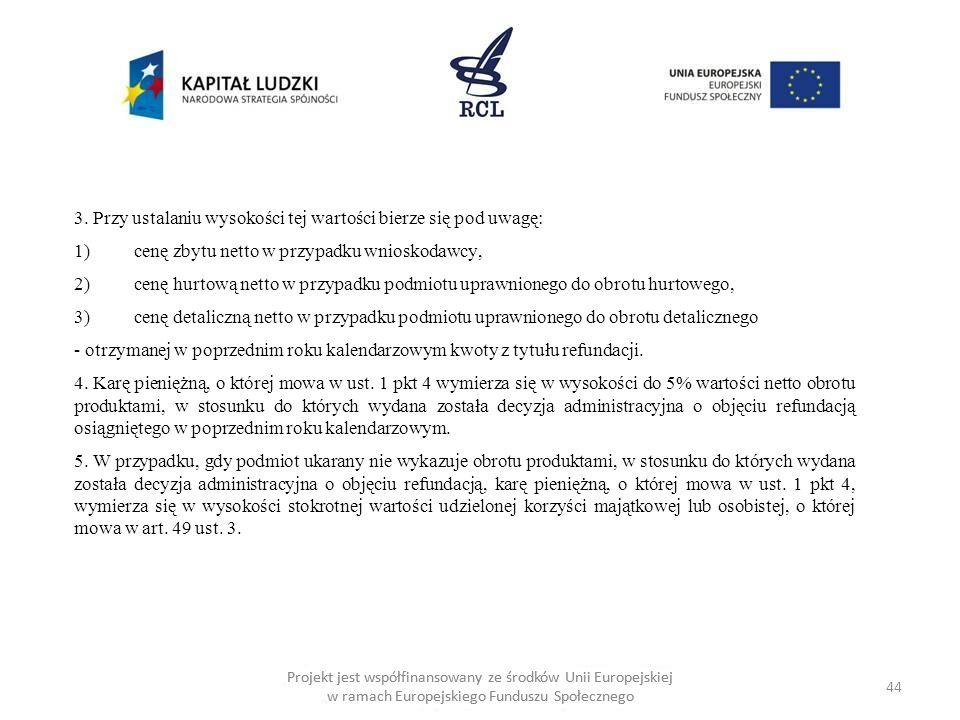 44 Projekt jest współfinansowany ze środków Unii Europejskiej w ramach Europejskiego Funduszu Społecznego 3.