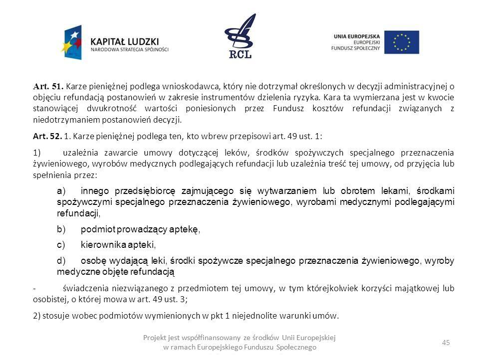 45 Projekt jest współfinansowany ze środków Unii Europejskiej w ramach Europejskiego Funduszu Społecznego Art.