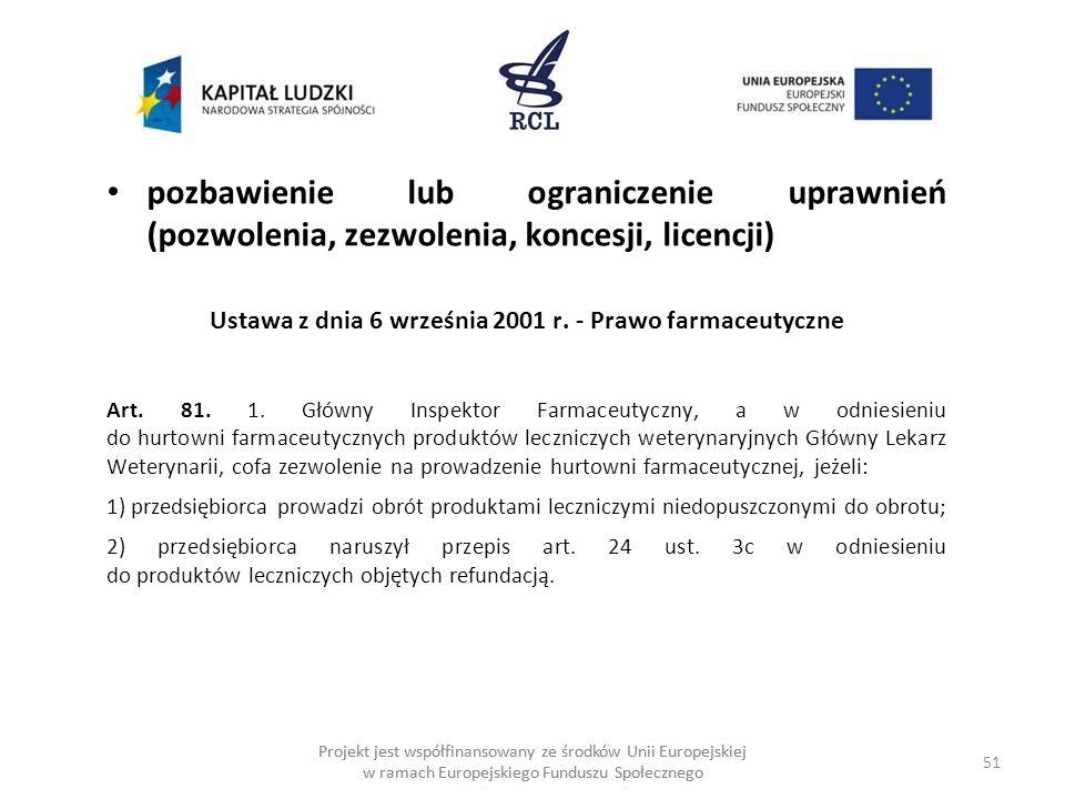 51 Projekt jest współfinansowany ze środków Unii Europejskiej w ramach Europejskiego Funduszu Społecznego pozbawienie lub ograniczenie uprawnień (pozwolenia, zezwolenia, koncesji, licencji) Ustawa z dnia 6 września 2001 r.