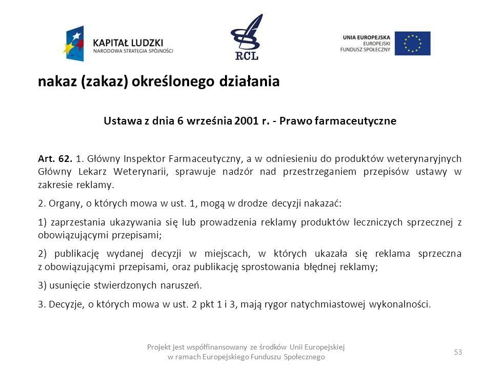 53 Projekt jest współfinansowany ze środków Unii Europejskiej w ramach Europejskiego Funduszu Społecznego nakaz (zakaz) określonego działania Ustawa z dnia 6 września 2001 r.