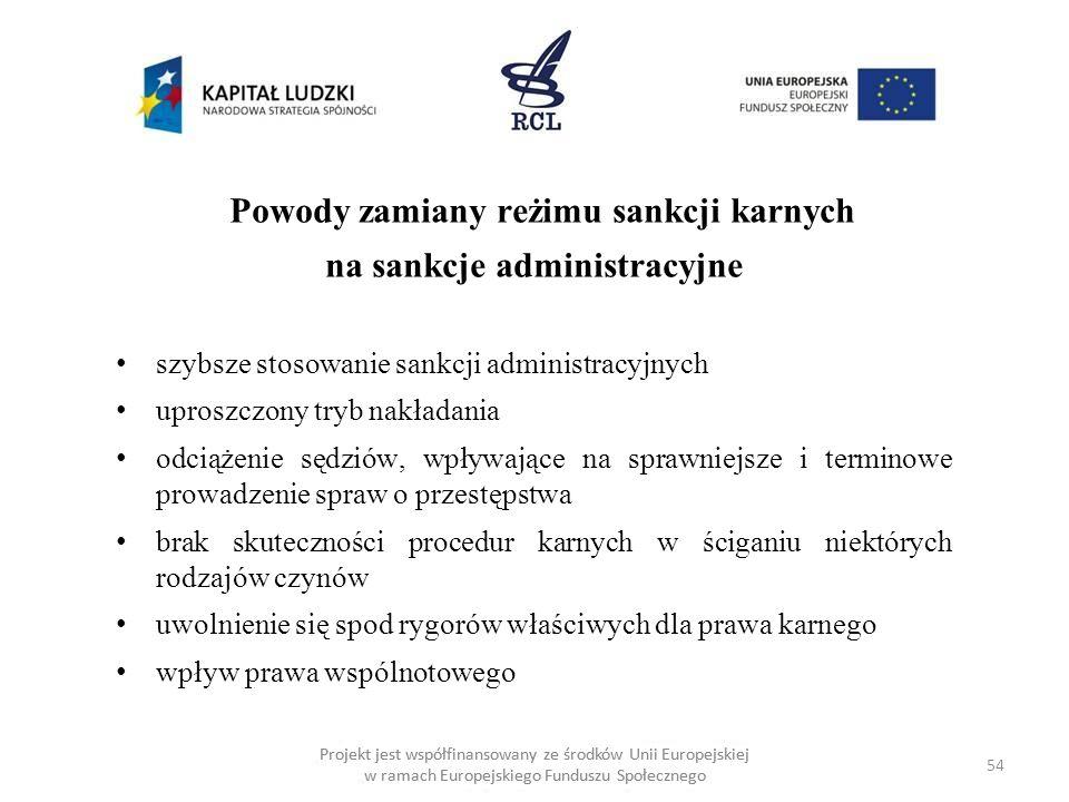 54 Projekt jest współfinansowany ze środków Unii Europejskiej w ramach Europejskiego Funduszu Społecznego Powody zamiany reżimu sankcji karnych na sankcje administracyjne szybsze stosowanie sankcji administracyjnych uproszczony tryb nakładania odciążenie sędziów, wpływające na sprawniejsze i terminowe prowadzenie spraw o przestępstwa brak skuteczności procedur karnych w ściganiu niektórych rodzajów czynów uwolnienie się spod rygorów właściwych dla prawa karnego wpływ prawa wspólnotowego
