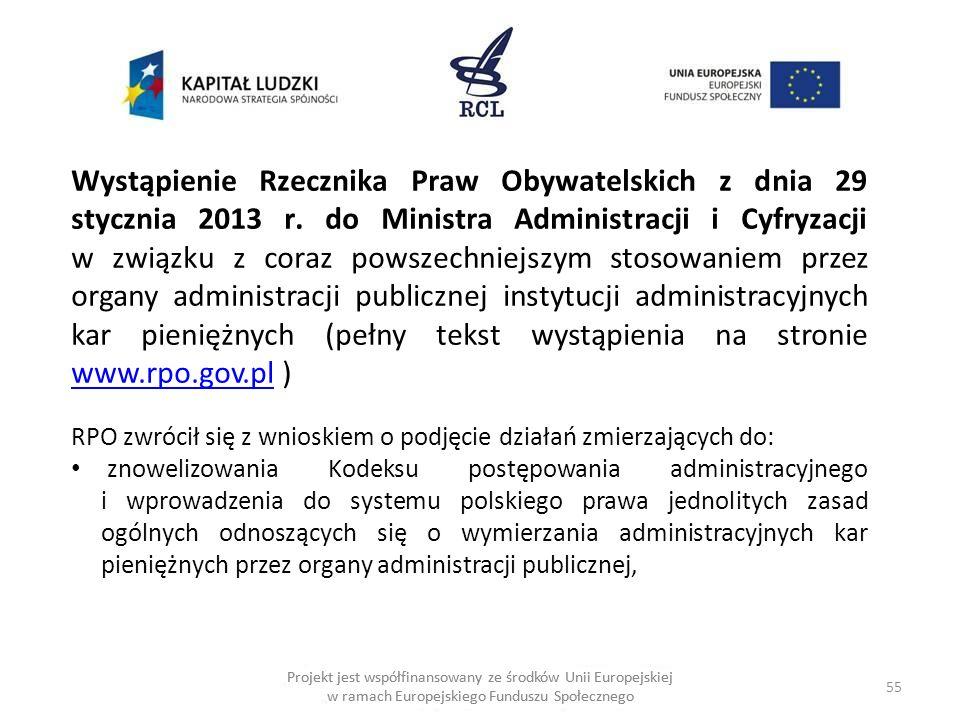 55 Projekt jest współfinansowany ze środków Unii Europejskiej w ramach Europejskiego Funduszu Społecznego Wystąpienie Rzecznika Praw Obywatelskich z dnia 29 stycznia 2013 r.