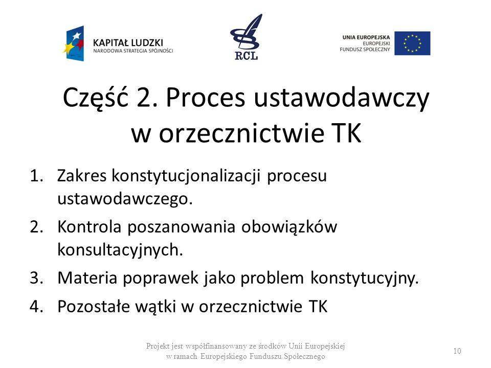 Część 2. Proces ustawodawczy w orzecznictwie TK 1.Zakres konstytucjonalizacji procesu ustawodawczego. 2.Kontrola poszanowania obowiązków konsultacyjny