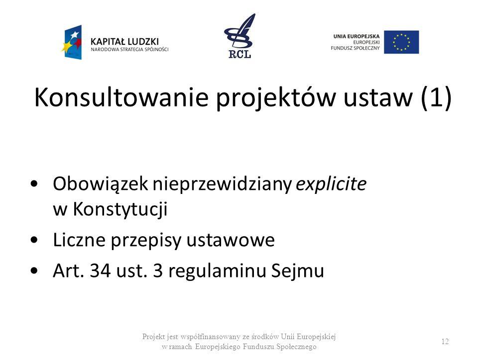 Konsultowanie projektów ustaw (1) Obowiązek nieprzewidziany explicite w Konstytucji Liczne przepisy ustawowe Art. 34 ust. 3 regulaminu Sejmu 12 Projek