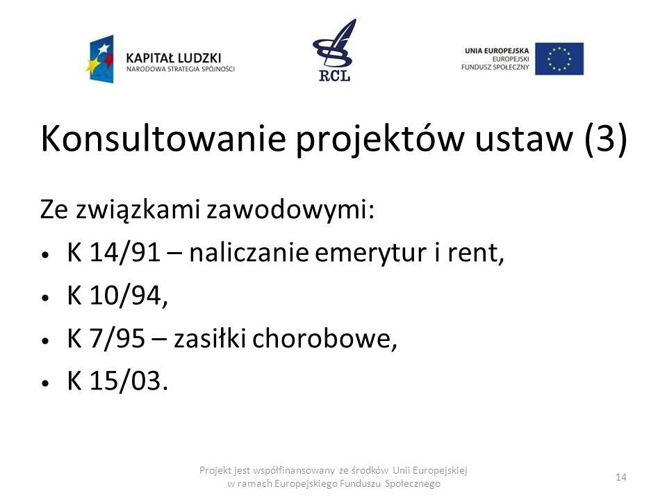 Konsultowanie projektów ustaw (3) Ze związkami zawodowymi: K 14/91 – naliczanie emerytur i rent, K 10/94, K 7/95 – zasiłki chorobowe, K 15/03. 14 Proj