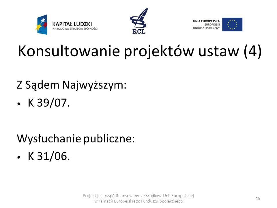 Konsultowanie projektów ustaw (4) Z Sądem Najwyższym: K 39/07. Wysłuchanie publiczne: K 31/06. 15 Projekt jest współfinansowany ze środków Unii Europe
