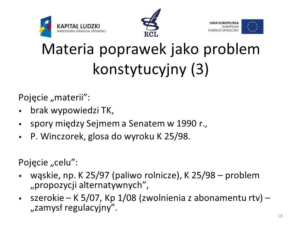 Materia poprawek jako problem konstytucyjny (3) Pojęcie materii: brak wypowiedzi TK, spory między Sejmem a Senatem w 1990 r., P. Winczorek, glosa do w