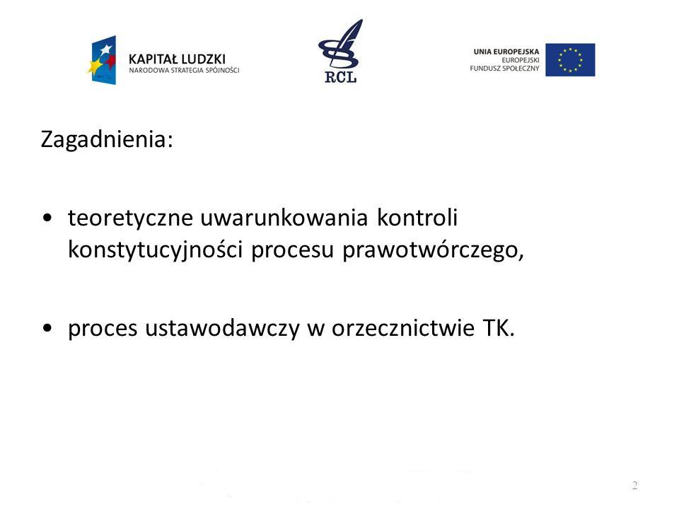2 Zagadnienia: teoretyczne uwarunkowania kontroli konstytucyjności procesu prawotwórczego, proces ustawodawczy w orzecznictwie TK.