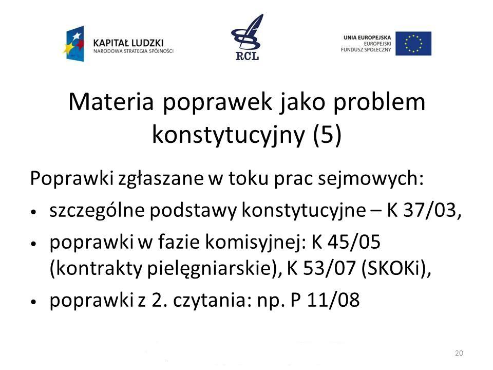 Materia poprawek jako problem konstytucyjny (5) Poprawki zgłaszane w toku prac sejmowych: szczególne podstawy konstytucyjne – K 37/03, poprawki w fazi