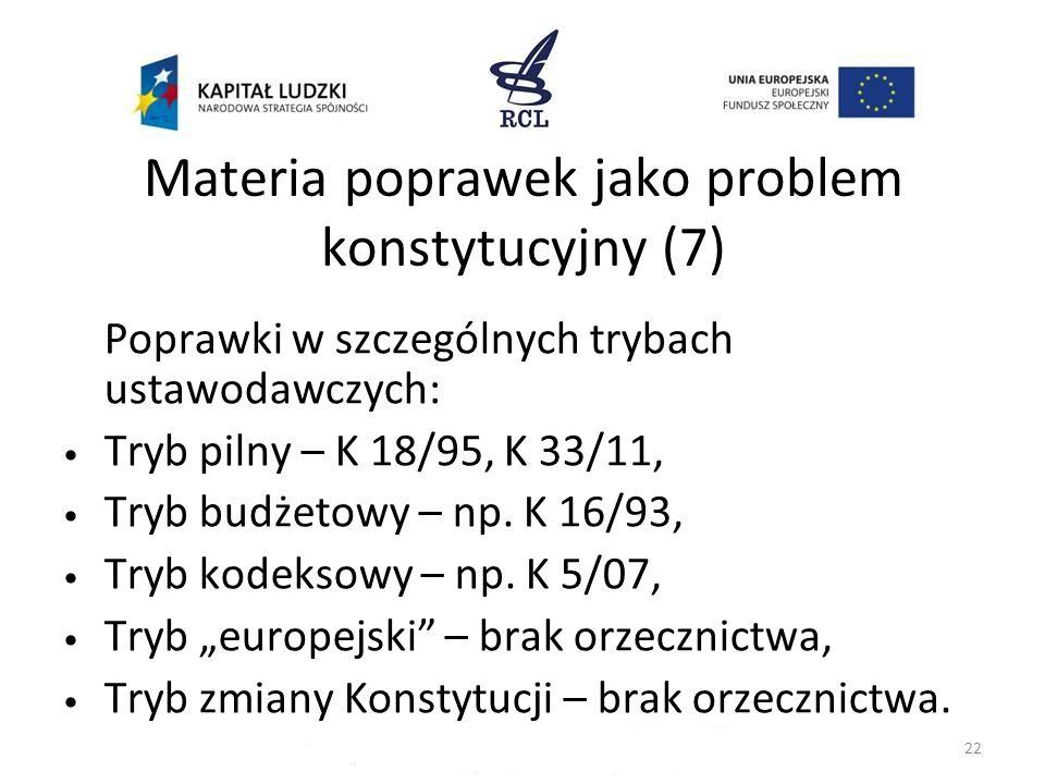 Materia poprawek jako problem konstytucyjny (7) Poprawki w szczególnych trybach ustawodawczych: Tryb pilny – K 18/95, K 33/11, Tryb budżetowy – np. K