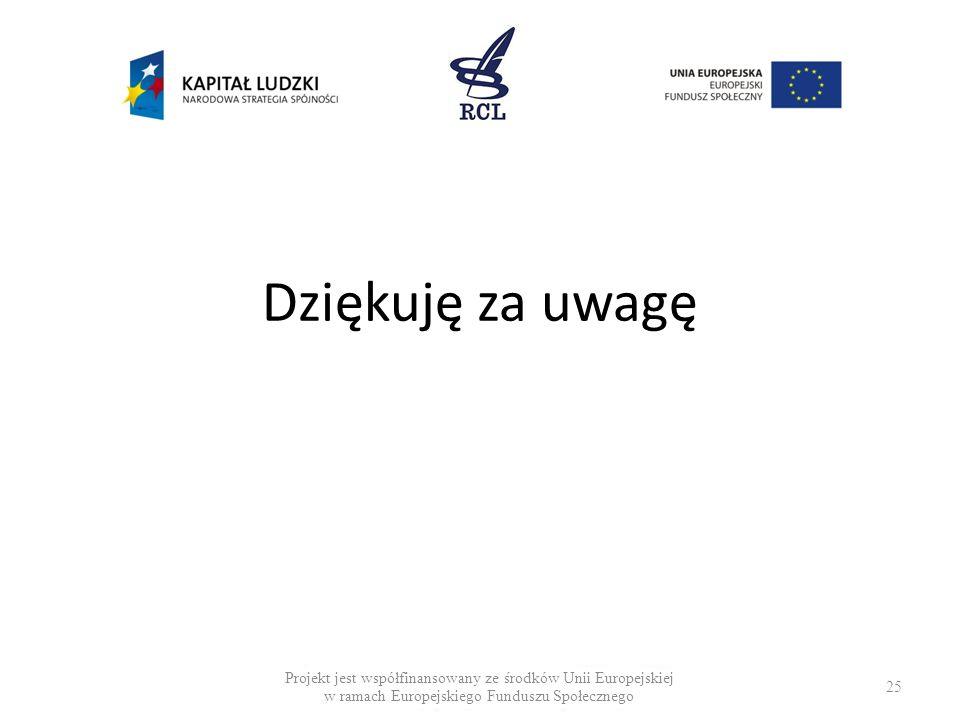 25 Dziękuję za uwagę Projekt jest współfinansowany ze środków Unii Europejskiej w ramach Europejskiego Funduszu Społecznego