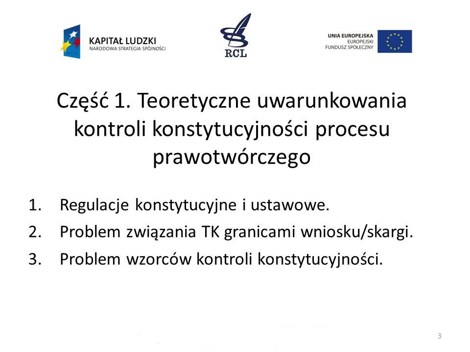 3 Część 1. Teoretyczne uwarunkowania kontroli konstytucyjności procesu prawotwórczego 1.Regulacje konstytucyjne i ustawowe. 2.Problem związania TK gra