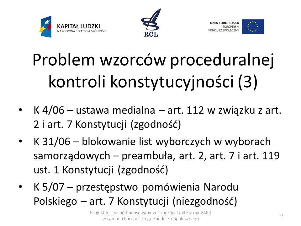 Problem wzorców proceduralnej kontroli konstytucyjności (3) K 4/06 – ustawa medialna – art. 112 w związku z art. 2 i art. 7 Konstytucji (zgodność) K 3