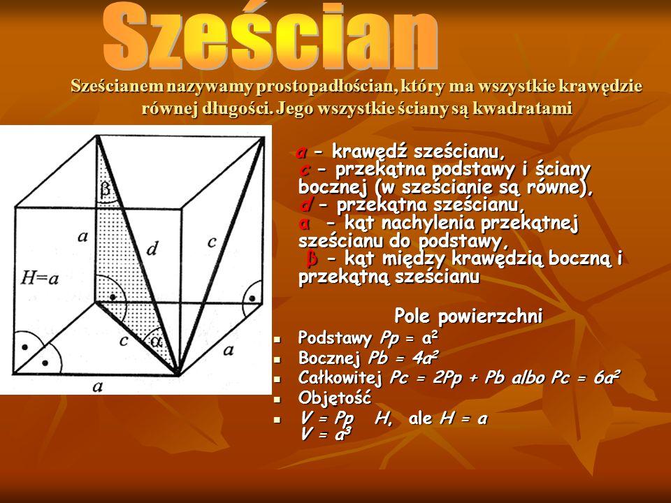 Sześcianem nazywamy prostopadłościan, który ma wszystkie krawędzie równej długości. Jego wszystkie ściany są kwadratami a - krawędź sześcianu, c - prz