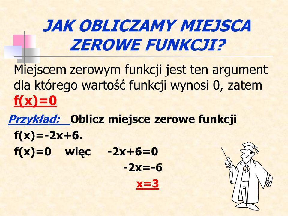 Odczytaj z wykresu miejsca zerowe podanych funkcji: f(x) = 3x+6, f(x) = 2x-2, f(x) = -x+4. Powrót x3x3 x2x2 x1x1 ĆWICZENIE 3