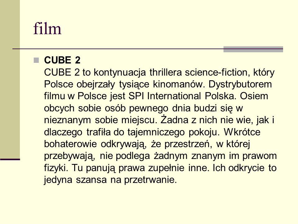 film CUBE 2 CUBE 2 to kontynuacja thrillera science-fiction, który Polsce obejrzały tysiące kinomanów. Dystrybutorem filmu w Polsce jest SPI Internati