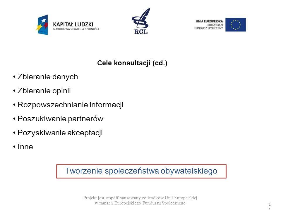 Projekt jest współfinansowany ze środków Unii Europejskiej w ramach Europejskiego Funduszu Społecznego Cele konsultacji (cd.) Zbieranie danych Zbieran