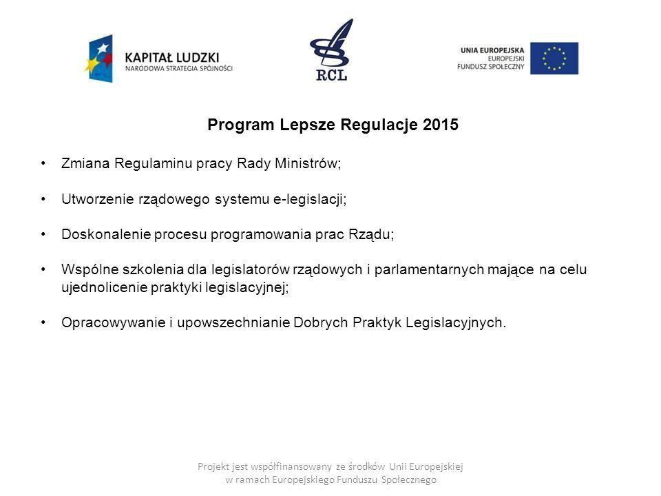 Projekt jest współfinansowany ze środków Unii Europejskiej w ramach Europejskiego Funduszu Społecznego Program Lepsze Regulacje 2015 Zmiana Regulaminu